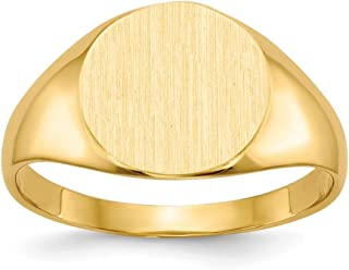 14K Yellow Gold Solid Closed Back 9.8mm Round Signet Ring Custom Personailzed with Free Engraving Available Initial or Monogram