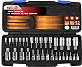EPAuto 32 PCs Hex Bit Socket Set, SAE and Metric, S2 & Cr-V Steel