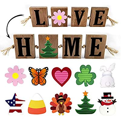 WINDER Wooden Freestanding HOME Sign & LOVE Sign Block Cutout Letter Sweet Home Decorative Sign, with 10 PC Interchangeable and Seasonal Signs Home Sentiments, Holiday, Christmas, Harvest, Valentine's Day, Patriotic Star, Easter, Spring, St. Patrick's Day