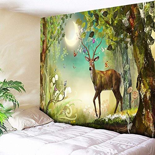 150x130cm Nostalgische kunst, historische atlas, retro design, stoffen muur Maanlicht Bos Elanden Decoratief Wandtapijt Kerst Muur Hangende kun