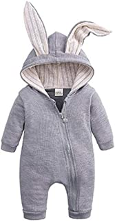 Aiweijia Baby Unisex Zipper Hooded Cute Long Sleeve Warm Autumn Winter Romper Jumpsuits Coat