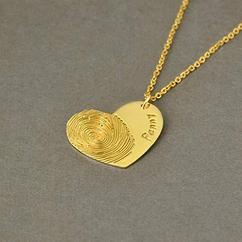 VAWAA Personalisierte Fingerabdruck Halskette, Name Halskette, Herz Anhänger, Geschenk für sie, Monatstag Geschenk, 18 Zoll