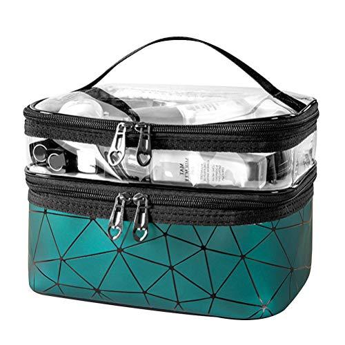 1 bolsa de inodoro impermeable de doble capa transparente para almacenamiento de maquillaje, papelería, almacenamiento de negocios, vacaciones