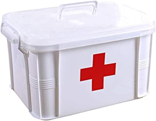 LULUD Medicine Storage Box, Home Medicine Box, Plastic First Aid Kit, Travel, Work, School (Size : 39x38x22.5cm)