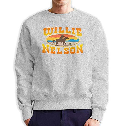 ElizabethMEiland Willie Nelson Sweatshirts, Men and Women Cotton Long-Sleeved Crew Neck Sweater Gray