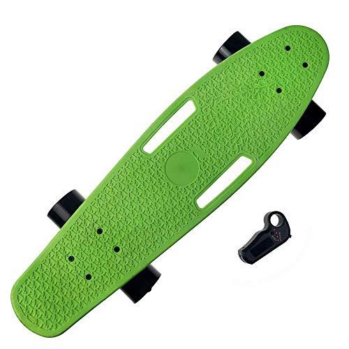 WEHOLY Einmotoriges Radio-Fernbedienungs-Elektro-Skateboard, E-Skateboard mit Fernbedienung, professioneller Stunt-Scooter, ultradünne integrierte Batterie 100-W-Motor bis zu 18 km Reichweite, grün