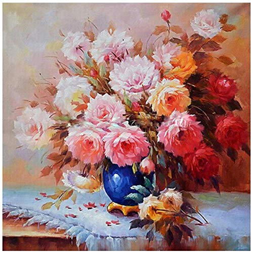 Dybjq Full Flowers Diamond Painting Peony vase Mosaic Embroidery Cross Stitch Rhinestone Picture Puzzle Drawing Wall Decor Craft Gifts 40x50cm