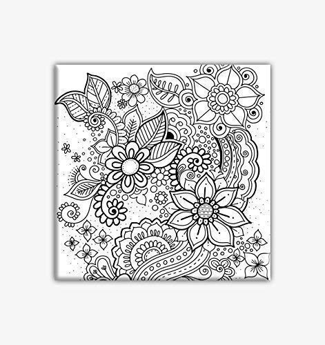 Floral Coloring Canvas For Adults canvas Super special price 8 x Stretched primed Year-end gift