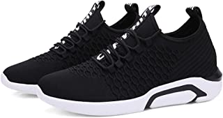 Yong Ding Men Breathable Sneakers Flyknit Comfy Trainers Casual Running Shoes Lace Up Sneakers Lightweight Sport Shoes
