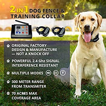 Freedom Distribution Enterprises Upgraded Wireless 2-in-1 Dog Fence and Training System for Two Dogs Dog Training Wireless Pet Containment System Two Collar Wireless Dog Fence