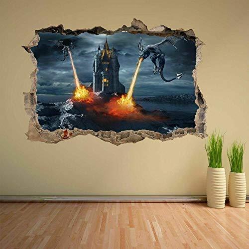 Tatuaje de pared en 3D agujero de la pared Sticker Pegatina Adhesivo Calcomanía Decoración para dormitorio o la sala de estar,Continuar 80x125cm