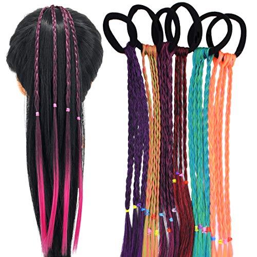 Bunte Haarsträhnen Kinder - YUESEN 6 Pcs Kinder Haarverlängerungen Geflochtenes Haargummiband, Farbverlauf Mädchen Haarteil Band mit elastischem Seilband