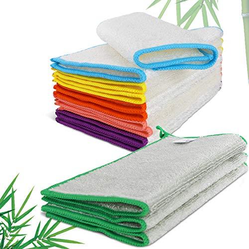 MASTERTOP 13 Stück Bambus Geschirrtücher in 6 Farben, Natur Putztücher Reinigungstücher aus 100% Bambusfaser ideal für Küche