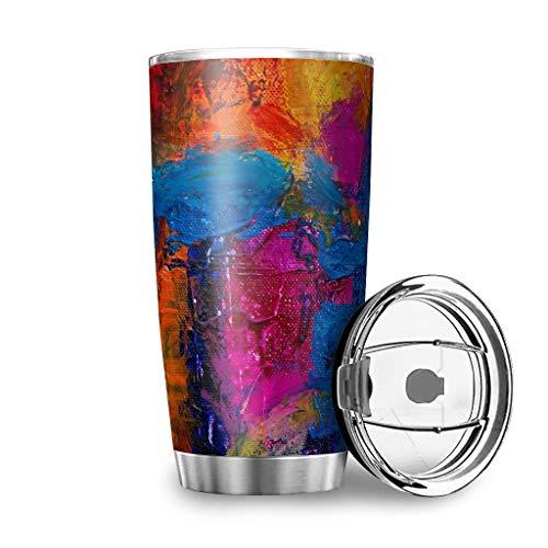 Taza de viaje de acero inoxidable con textura de graffiti sobre lienzo, con tapa a prueba de salpicaduras, diseño 3D, reutilizable, aislante, mantiene el calor y mantiene el blanco frío, 600 ml