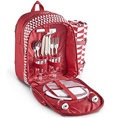 VonShef 2 Person Geo Red Picnic Backpack With Blanket – Includes 17 Piece Dining Set & Cooler Compartment to Keep Food Chilled