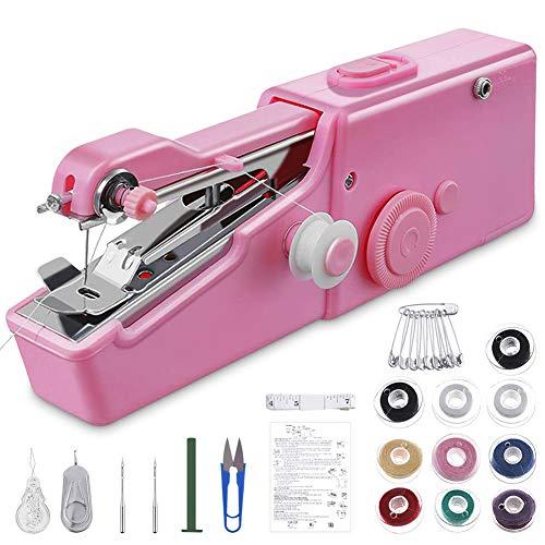 GEYUEYA Home Handnähmaschine, nähmaschine klein Mini Hand Nähmaschine Tragbar Magic Stich Elektrische Handnähmaschine Schneller Handlicher Stich für DIY, Kleidung, Vorhang, Haushalt und Reisenutzung