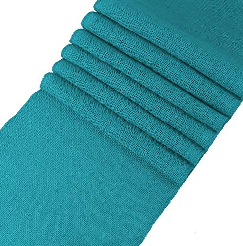 mds Pack of 12 Wedding 12 x 108 inch Burlap Table Runner Natural Jute Country Vintage for Wedding Banquet Decoration – Natural Jute Burlap (Teal)