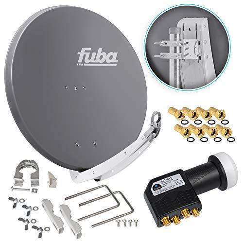 Fuba DAA 850 A 85cm Sat Schüssel Anthrazit Satellitenantenne Aluminium Reflektor + HB-DIGITAL UHD Quad LNB 4 Teilnehmer Direktanschluss schwarz 4K Utra HDTV Full HD 3D fähig + 8x F-Stecker vergoldet
