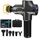 Massage Gun Muscle Massager Deep Tissue Percussion Massager Cordless 30 Speed Level Professional Handheld Electric Body Massager Sports Drill with 6 Heads Helps Relieve Muscle Soreness and Stiffness