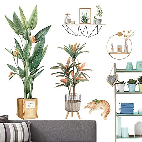 Adesivo Murale Pianta Tropicale,Adesivo Murale Foglia Verde,Adesivo da parete con foglie verdi e...