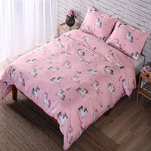 Adam Home Reversible Duvet Cover Set (King, Candy Unicorns) - Ultra Soft Printed Quilt Cover Set - 1 Duvet Cover & 2 Pillow Cases - Luxurious Brushed Microfiber Comforter Cover Set - Bedding Set