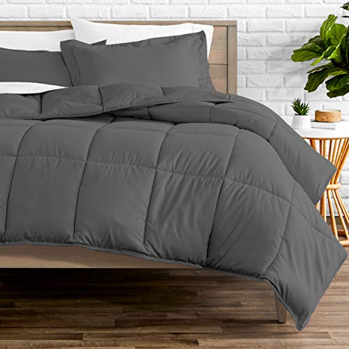 Bare Home Kids Comforter Set - Twin/Twin Extra Long - Goose Down Alternative - Ultra-Soft - Premium 1800 Series - Hypoallergenic - All Season Breathable Warmth (Twin/Twin XL, Grey)