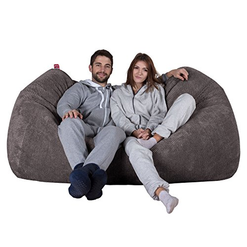 Lounge Pug® - Pom Pom - GIANT Bean Bag SOFA - Beanbag SOFA UK - CHARCOAL GREY