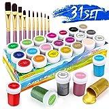 Set da Colori Acrilici, Set di 31 PCS Premio Pittura Acrilica Compreso 21 x 20 ml Pigmento Acrilico +10 Pennellino- Colori Vibranti Colore Acrilico per Carta, Roccia, Legno, Ceramica