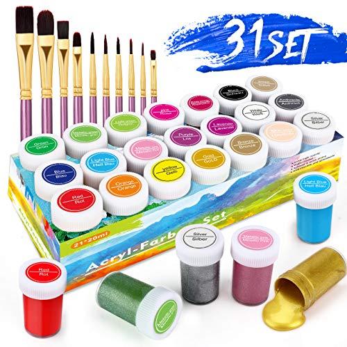 Pinturas Acrílicas, 31 Conjunto de Prima Caja de Pintura Acrílica Incluso 21 x 20 ml de Pigmento Acrílico +10 Pincel- Colores Vibrantes Pintura Acrilica para Papel, Roca, Madera, Cerámica