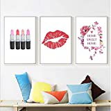 PLWCVERS Arte de Pared de Moda Póster de Labios de Flores Impresión nórdica Beso Maquillaje Lienzo Pintura Mujer Imágenes para Sala de Estar Decoración Moderna / 30x40cmx3 (Sin Marco)