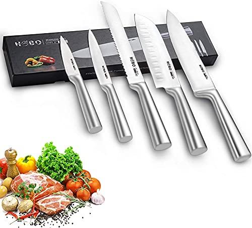 Ensemble de Couteaux, HOBO Ensemble de Couteaux de Cuisine Professional 5 pièces en Acier Inoxydable, Poignée Givrée Antidérapante, Couteau de Chef Dentelé et Tranchant Standard.