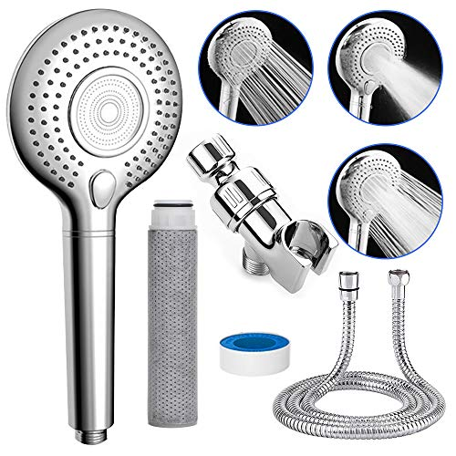 Showerheads & Handheld Showers with Hose & Replacement ACF Filters,High Pressure & Water Saving Showerhead Body Sprays,3 Settings Filtered Shower Head for Dry Skin and Hair Loss