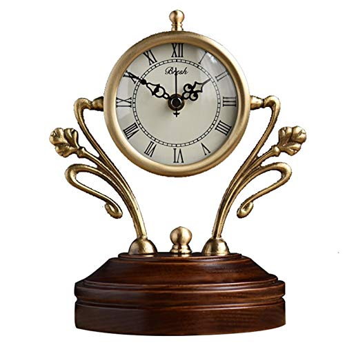 DYB Decorative Clock Table Clock - American Copper Table Clock Fashion Creative Solid Wood Table Clock Living Room Silent Quartz Clock Personality Trend Clock Classic Chic Style