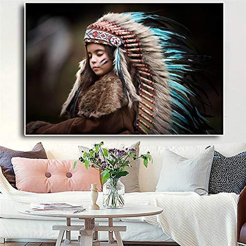 Olieverf canvas achtergrond muur opknoping Native Indian Feather Kid Portret Scandinavisch Geschikt voor woonkamer in galerij kamer met loopbrug (45x60cm No Frame)