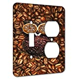 Elements of Space Cappuccino Owl Insomniac Metal Wall Plate - 2 Gang 1 Switch 1 Duplex A/C Outlet Combo