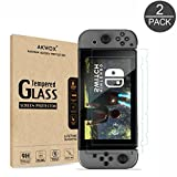 (2-Pack) Tempered Glass Screen Protector for Nintendo Switch, Akwox [0.3mm 2.5D High Definition 9H ] Anti-fingerprint Screen Protective Flim for Nintendo Switch 2017