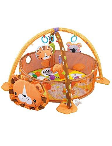 Konig Kids 3 en 1 Bebé Gimnasio de actividad y Piscina de bolas Tapete de juego, León