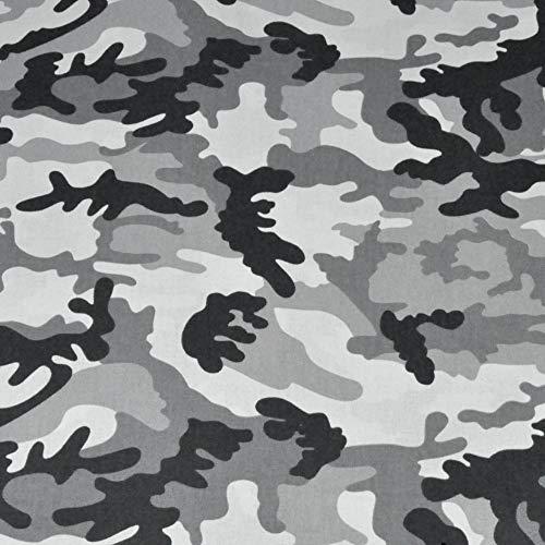 Tela de algodón 100 % para niños, diseño de camuflaje, por metros, artesanía, tela de costura, (camuflaje, gris, negro, gris oscuro, 100 x 160 cm)