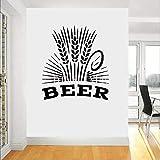 ASFGA Restaurante Bar Cerveza de Trigo Etiqueta de la Pared Vinilo Bar decoración cervecería decoración de la Pared calcomanías extraíble decoración Interior Papel Pintado Cocina Club 64X57 cm