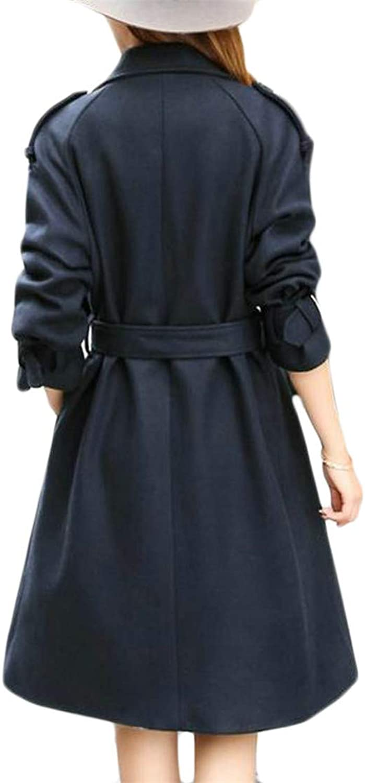 Pandapang Womens DoubleBreasted Classic Lapel Neck Belt Wool Blend Coat Jacket