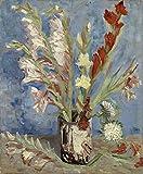 taikang pittura su tela adulti e bambini con colori acrilici,dipingere con i numeri,(40x50cm,senza cornice)- vincent van gogh - vaso con gladioli