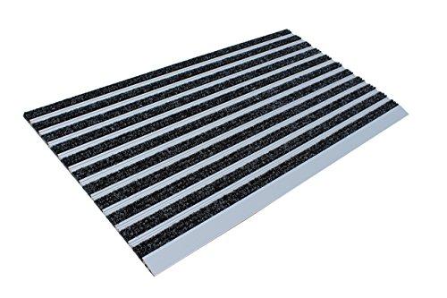 Basmat Felpudo con Rampa, Aluminio y Textil de Polipropileno, Negro Antracita, 39 x 70 x 2 cm