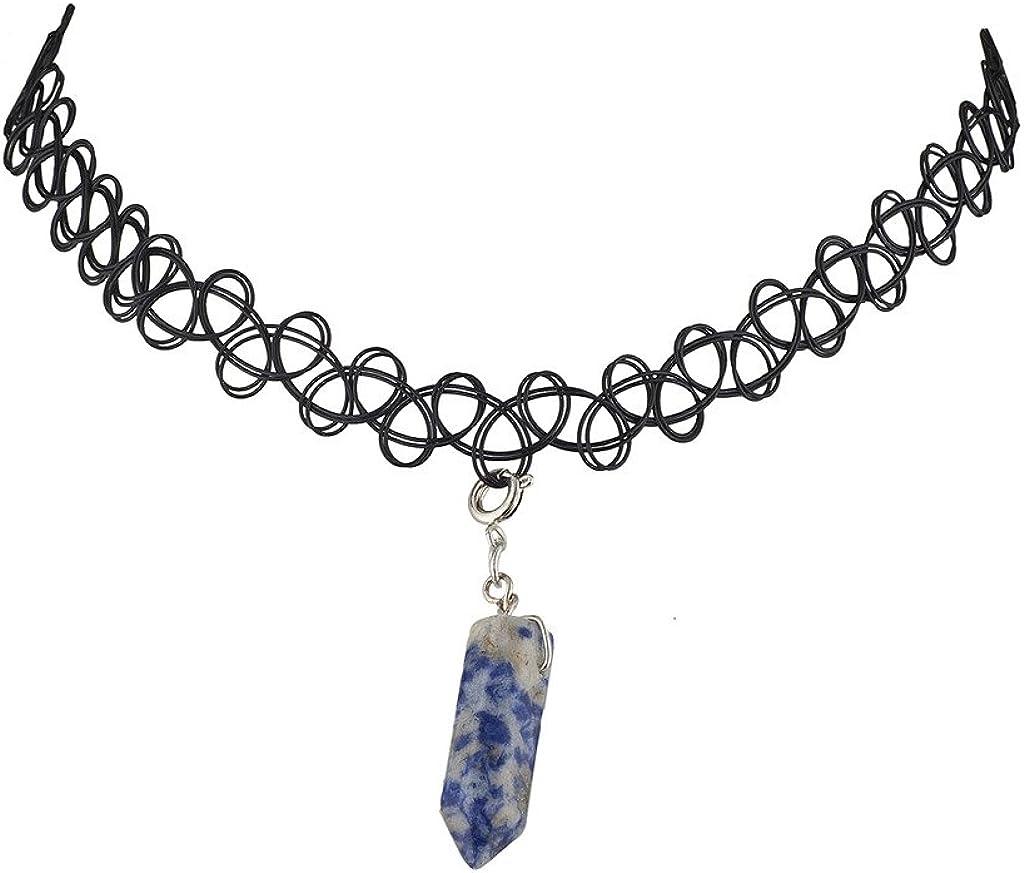 Lux Accessories Quartz Tattoo Choker Necklace