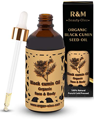 R&M Beauty-Oleo Aceite de comino negro de calidad superior - Aceite orgánico de comino negro - Prensado en frío - Para cara y cuerpo, para una piel más bella y una cara limpia - 100 ml