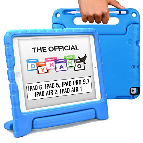 Official Cooper Dynamo [Rugged Kids Case] for iPad 6th, 5th Gen/iPad Pro 9.7 / iPad Air 2, 1 | Cover, Stand, Handle, Pencil Storage Slot (Blue)