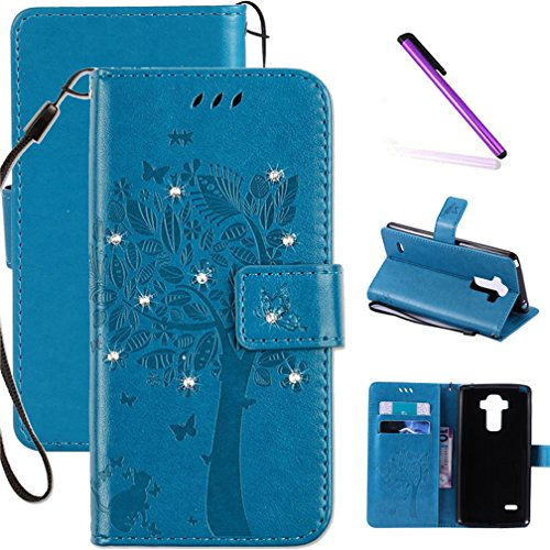 LG G4 Case, LEECOCO Embossed Floral 3D Handmade Bling Crystal Diamonds Butterfly with Card Slots Magnetic Flip Stand PU Leather Wallet Case for LG G4 Wishing Tree Blue