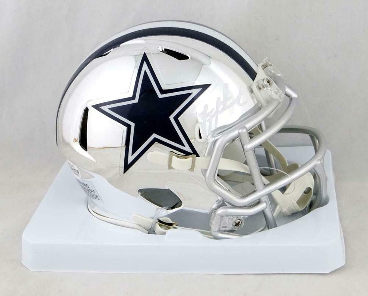 Troy Aikman Signed Mini Helmet  Chrome Beckett Auth White  Beckett Authentication  Autographed NFL Mini Helmets