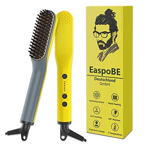 Pettine barba capelli, Axceed 2 In 1 Spazzola per Barba Elettrica, Pettine Lisciante per Capelli e Barba per Viaggi/Affari con Temperatura Regolabile