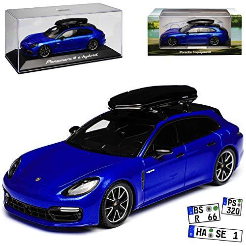 Spark Porsche Panamera 4 e-hybrid Sport Turismo Shooting Brake Blau mit Dachbox Ab 2017 1/43 Modell Auto