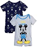 Disney Baby Boys' Mickey Mouse 2 Pack Short Sleeved Romper with Snap Closure (Newborn/Infant), Size 0-3 Months, Grey Mickey/Navy Multi